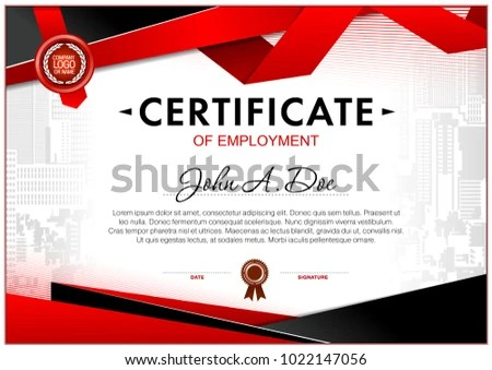 Certificate Employment Template Geometrical Simple Shapes Stock