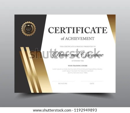Certificate Layout Template Design Luxury Modern Stock Vector