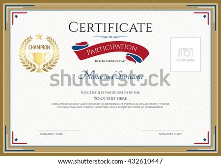 Certificate Participation Template Gold Border Gold Stock Vector