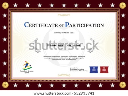 Certificate Participation Template Sport Theme Football Stock Vector