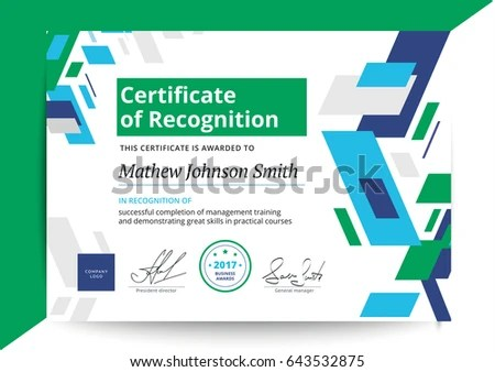 Certificate Recognition Template Modern Design Business Stock Vector