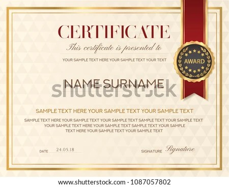 Certificate Template Diploma Design Emblem Red Stock Vector (Royalty