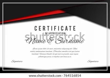 Certificate Template Elegant Black Red Colors Stock Vector (Royalty