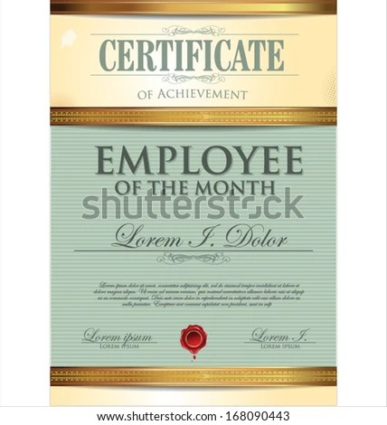 Certificate Template Employee Month Stock Vector (Royalty Free