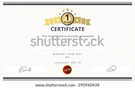 Certificate Template First Place Concept Certificate Stock Vector