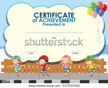 Certificate Template Kids Skating Illustration Stock Vector (Royalty