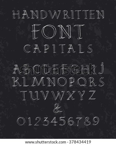 Chalkboard Alphabet Vector Font Drawing Letters Stock Vector