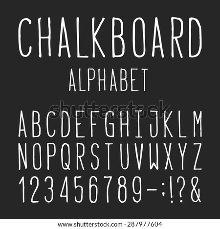 Chalkboard Alphabet Vector Font Type Letters Stock Vector (Royalty