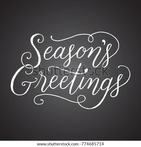 Chalkboard Seasons Greetings Handlettered Holiday Message Stock
