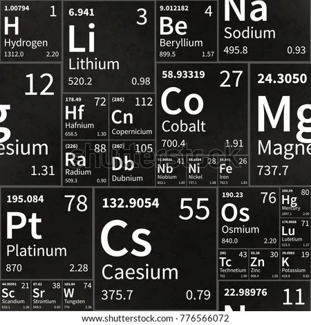 Chemical Elements Table On Black School Stock Vector (Royalty Free