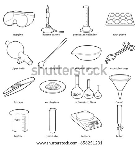 Chemical Laboratory Tools Icons Set Outline Stock Vector (Royalty