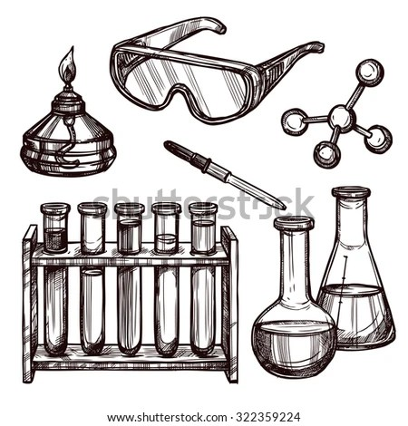 Chemistry Laboratory Tools Devices Black White Stock Vector (Royalty