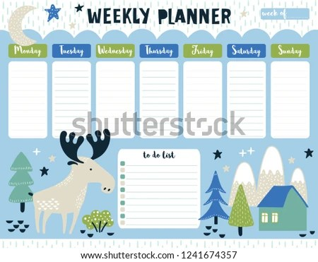 Childish Weekly Planner Do List Moose Stock Vector (Royalty Free