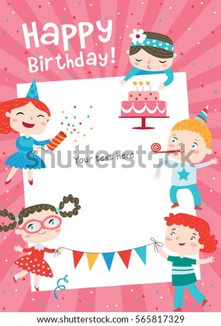 Children Having Fun Birthday Party Template Stock Vector (Royalty