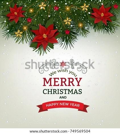 Christmas Background Fir Branch Borders Decorative Stock Vector