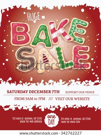 Christmas Bake Sale Flyer Template Hand Stock Vector (Royalty Free