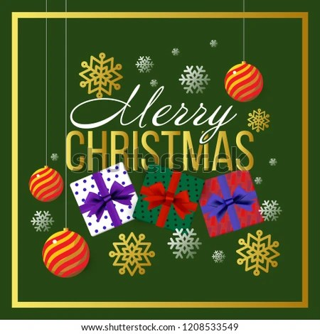 Christmas Banner Template Background Merry Christmas Stock Vector