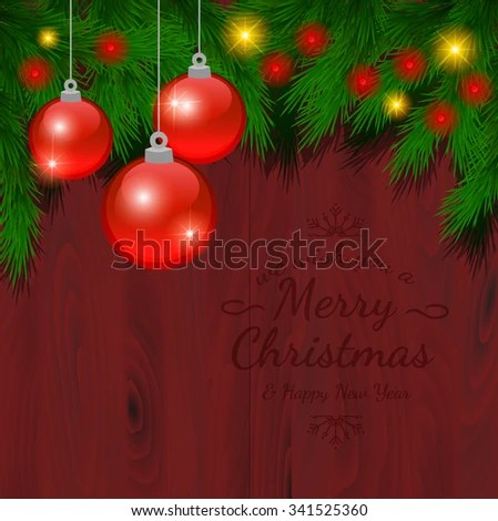 Christmas Card Ornaments Realistic Spruce Pine Stock Vector (Royalty