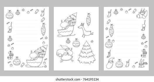 Christmas Coloring Page Christmas Wish List Stock Vector 764195143 - christmas list to santa template