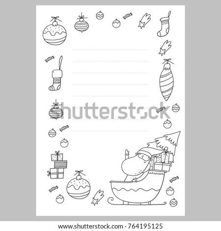 Christmas Coloring Page Christmas Wish List Stock Vector (Royalty