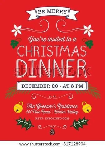 Christmas Dinner Invitation Flyer On Red Stock Vector (Royalty Free