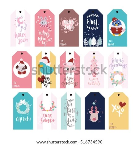 Christmas Gift Tags Holiday Name Tag Stock Vector (Royalty Free