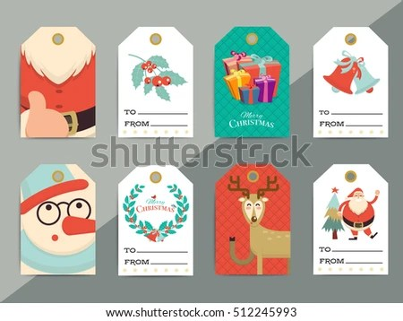 Christmas Gift Tags Template Set Vector Stock Vector (Royalty Free