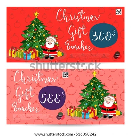 Christmas Gift Voucher Template Gift Coupon Stock Vector (Royalty