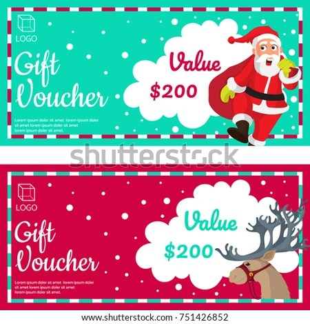 Christmas Gift Vouchers Santa Clause Reindeer Stock Vector (Royalty