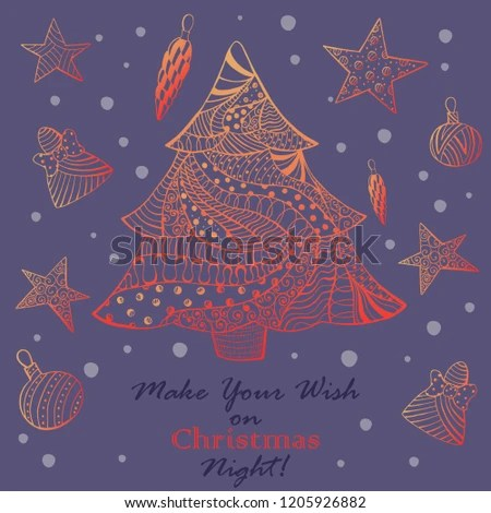 Christmas Greeting Card Ornated Fir Tree Stock Vector (Royalty Free