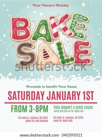 Christmas Holiday Bake Sale Flyer Template Stock Vector (Royalty