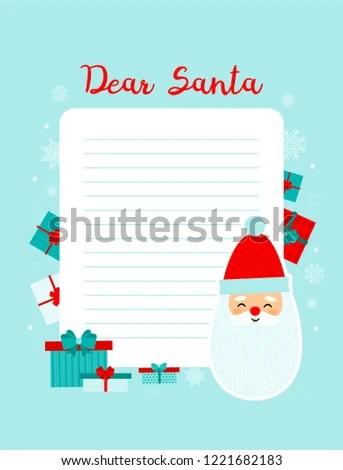 Christmas Letter Santa Claus Template Printable Stock Vector