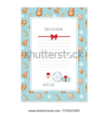 Christmas Letter Santa Claus Template Layout Stock Vector (Royalty