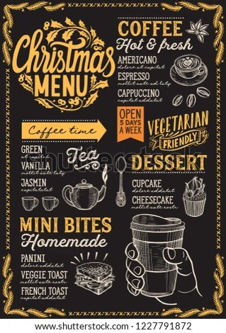 Christmas Menu Template Coffee Shop On Stock Vector (Royalty Free