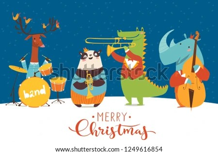 Christmas Music Night Party Poster Vector Stock Vector (Royalty Free