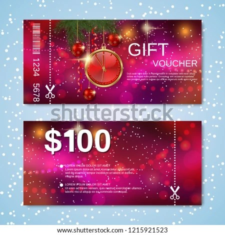 Christmas New Year Discount Coupon Gift Stock Vector (Royalty Free