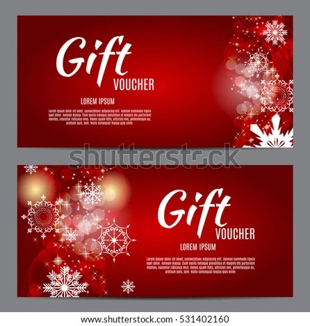 Christmas New Year Gift Voucher Discount Stock Vector (Royalty Free