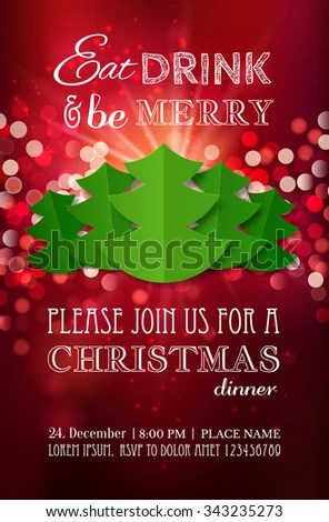 Christmas Party Dinner Invitation Poster Flyer Stock Vector (Royalty