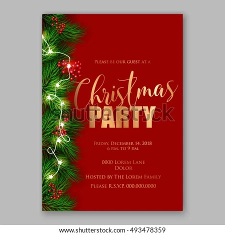 Christmas Party Invitation Template Stock Vector (Royalty Free