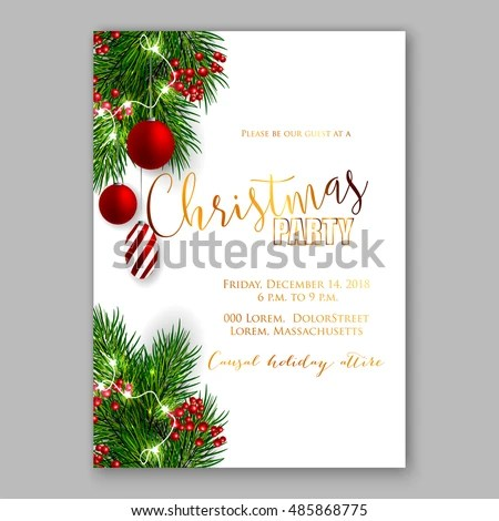 Christmas Party Invitation Template Background Fir Stock Vector
