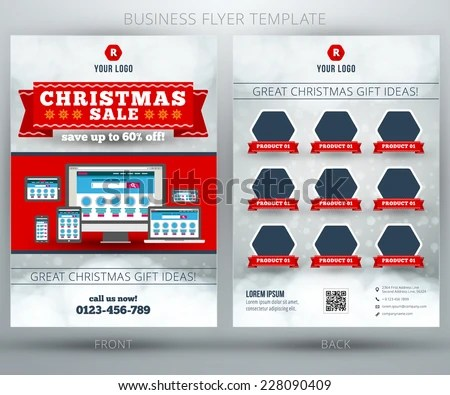 Christmas Shopping Sale Vector Business Flyer Stock Vector (Royalty