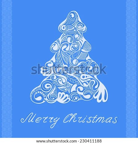 Christmas Tree Background Quote Merry Christmas Stock Vector