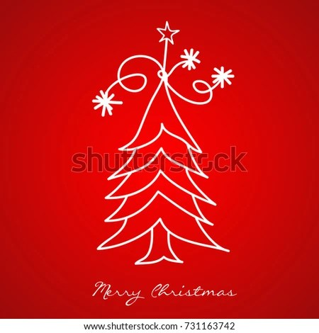 Christmas Tree Greeting Card Template Vector Stock Vector (Royalty