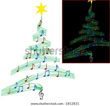 Christmas Tree Musical Notes Symbolizing Christmas Stock Vector