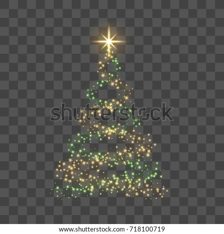 Christmas Tree On Transparent Background Gold Stock Vector (Royalty