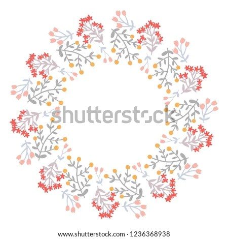 Christmas Wreath Round Frame Cards Design Stock Vector (Royalty Free