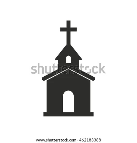 Church Vector Icon Black Illustration Isolated Stock Vector (Royalty