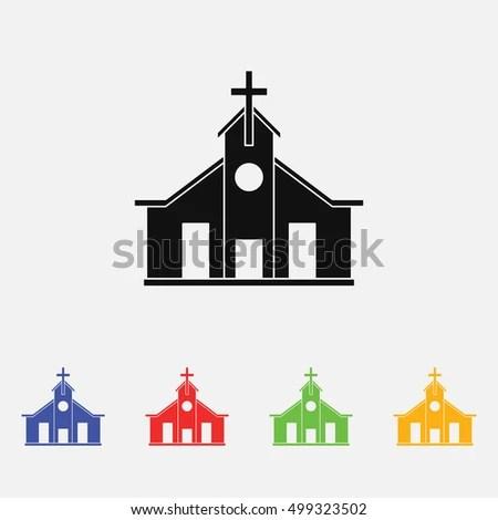 Church Vector Illustration Religion Icon Silhouette Stock Vector
