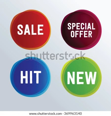 Circle Sale Sign Promotion Template Stock Vector (Royalty Free