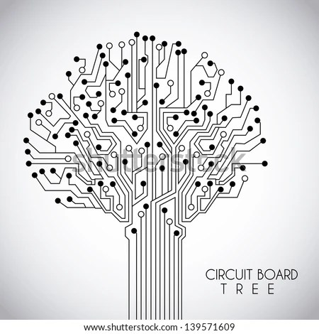 Circuit Design Over Pink Background Vector Stock Vector (Royalty